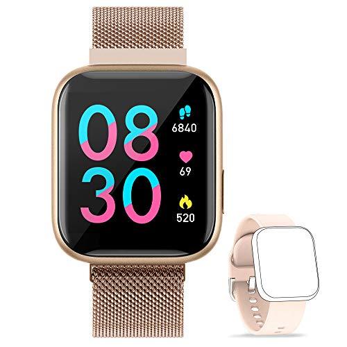 BANLVS Smartwatch, 1.4 Inch Reloj Inteligente IP67 con Pulsómetro Presión Arterial, Monitor de Sueño Podómetro Contador de Caloría, Smartwatch Reloj Inteligente Deporte para Hombre Mujer