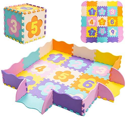 COSTWAY Puzzle Tapis Mousse Bébé avec Clôture, Tapis de Sol à 50 Pièce, Puzzle Multicolore Enfant (Motif de Fleur et Chiffre)