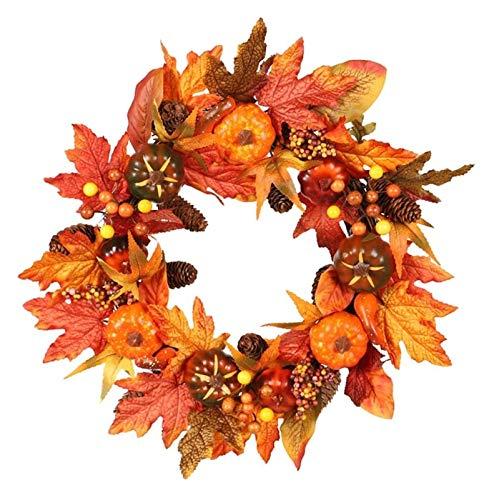 XIAOGING 22inch Artificiale Fiori di Zucca Wreath - Handmade Porta Corona Decorazione di Halloween di Natale