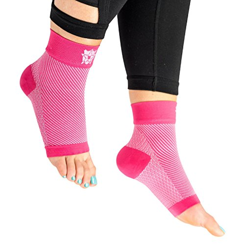 Bitly Plantar Fasciitis Compression Socks for Women & Men - Best Ankle Compression Sleeve, Nano Brace for Everyday Use - Provides Arch Support & Heel Pain Relief (Pink, Medium)