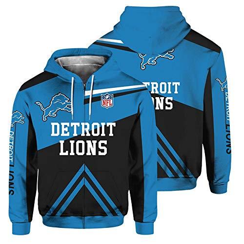 QWEIAS Sudadera con Capucha para Hombre - NFL Detroit Lions Fans Casual Unisex Zipper Sweater Pullover Impresión 3D Primavera Otoño Chaquetas de Manga Larga XL