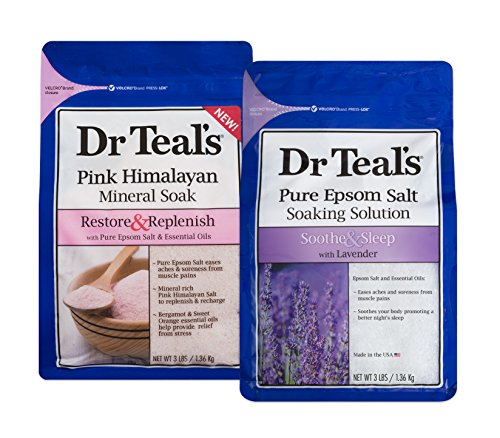 Dr Teal's Epsom Salt Soaking Solution, - Lavender and Pink Himalayan, 2 Count - 6lbs Total