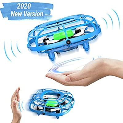 UFO Drone toy with LED, Theefun 2020 NEW VERSION UFO Mini Drone for kids, Fan & Drone 2 modo Quadcopter Infrared Induction Flying toy Gifts for Boys Girls Adults Indoor Outdoor Garden Ball Toys, Blue