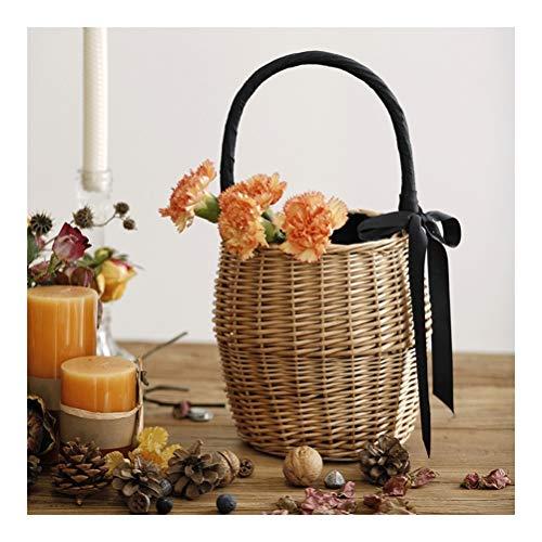 Cesta de almacenamiento de frutas tejida a mano, cesta decorativa para jardín, maceta con diseño de boca de haz, madera, natural, Small