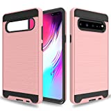 Wtiaw for:Galaxy S10 5G Case,Galaxy S10 5G Phone Cases,Samsung Galaxy S10 5G Case,[TPU+PC Material] [Brushed Metal Texture] Hybrid Dual Layer Defender Case for Samsung Galaxy S10 5G-CL Rose Gold