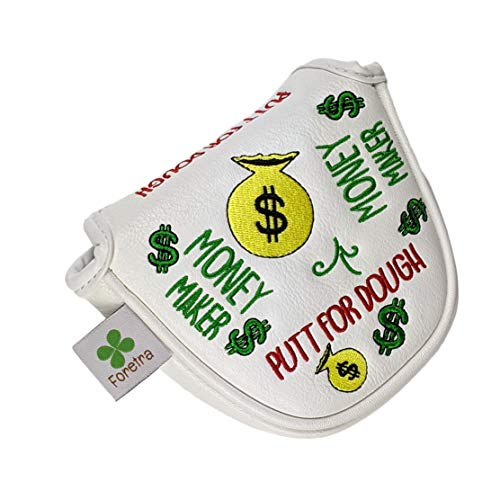 Foretra Putt for Dough - Money Maker White Golf Putter Headcover Quality PU Leather Magnetic Closure for Mallet Style Putters