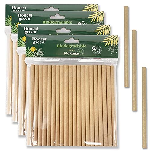 Eco Natural 400 cannucce di carta usa e getta, 15 cm x 7,5 mm, 100% ecologiche, riciclabili e biodegradabili, prive di BPA, colore marrone