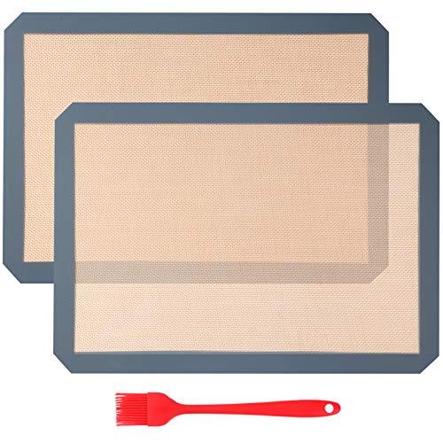 Aicoimy Tapis de Cuisson en Silicone, 2pcs Tapis de Four en Silicone, Tapis à Tâtisserie pour Cookie/Gâteau/Pizza/Pain, Set de Table en Silicone, Réutilisable (42x29,5 cm)