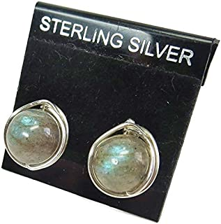 Labradorite and Sterling Silver Herringbone-Topped Wire-Wrapped Post Earrings