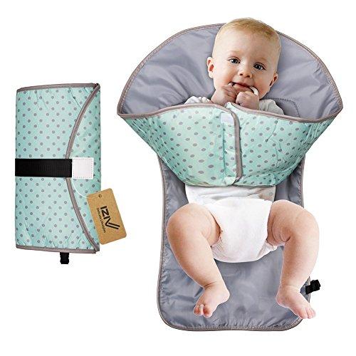 iZiv Cambiador Portátil de Pañales para Bebé - Kit Cambiador de Viaje - Bolso Cambiador Bebé de Mano Plegable de Viaje - Para llevar las Cositas del Bebé en Todo Momento (Azul)
