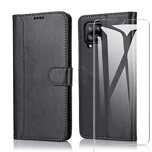 SMYTU für Samsung Galaxy A42 5G Hülle mit 1 Pack Panzerglas, Klapphülle Magnetisch Handyhülle Ledertasche Schutzhülle für Samsung Galaxy A42 5G -Schwarz