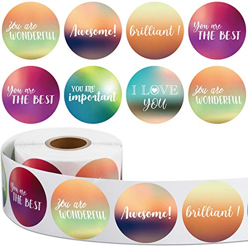 600 Pieces 1.5 Inch Positive Stickers Motivational Encouragement Quote Label Stickers Handwritten Modern Artistic Inspirational Stickers for Greeting Cards Envelopes Sealing Decor