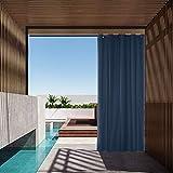 Cortina impermeable al aire libre, cortinas opacas para puerta de jardín, patio, cenador interior y exterior con ojales para puerta corredera (azul marino, 1 panel   137 x 213 cm)