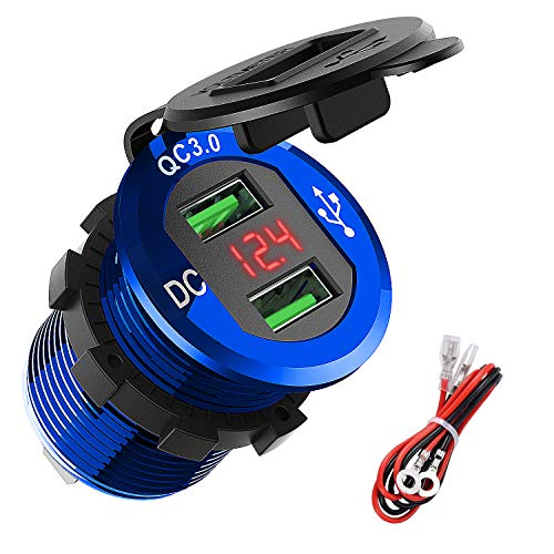Quick Charge 3.0 Dual USB Charger Socket, ADSDIA Waterproof Aluminum Power Outlet Fast Charge with LED Voltmeter & Wire Fuse DIY Kit for 12V/24V Car Boat Marine Motorcycle Truck Golf Cart and More
