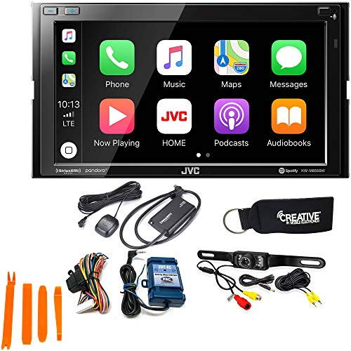 JVC KW-M855BW Compatible with CarPlay, Wireless Android Auto + Steering Wheel Interface, Back-Up Camera & SiriusXM Tuner