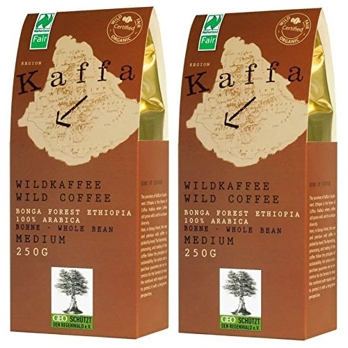 Original Food Kaffa Wild-Kaffee medium ganze Bohne 2er-Pack (2x 250g) bio vegan fair Arabica MedBohx2