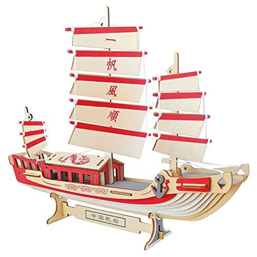 YJF Rompecabezas de Madera 3D DIY Sailboat Craft Decoración del hogar Rompecabezas para niños y Adultos