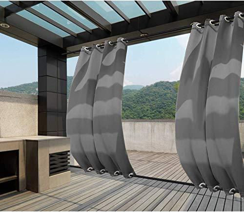 Clothink Outdoor Vorhänge Aussenvorhang B:132xH:275cm mit Ösen Oben(ID:4cm)+Unten(ID:4cm) Winddicht Wasserabweisend Sichtschutz Sonnenschutz UVschutz Grau