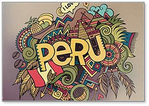 Peru Hand Lettering en Doodles Elements Illustratie Koelkast Magneet