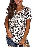 Adreamly Camiseta básica de verano con cuello en V y manga corta para mujer -  Multi color -  Large