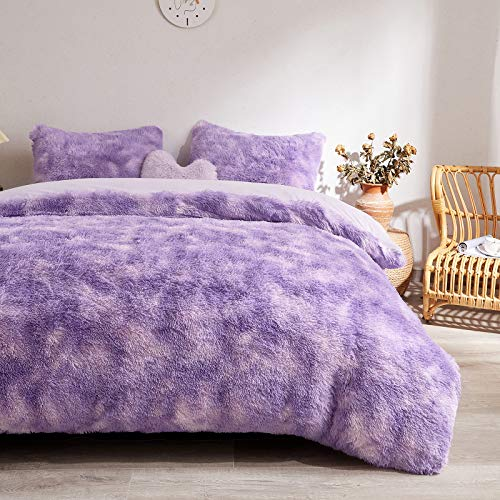 MEGO Fuzzy Faux Fur Duvet Cover Set - Shaggy Marble Print Duvet Cover -Ombre Luxury Ultra Soft Fluffy Comforter Cover Bed Sets (Queen, Orchid)