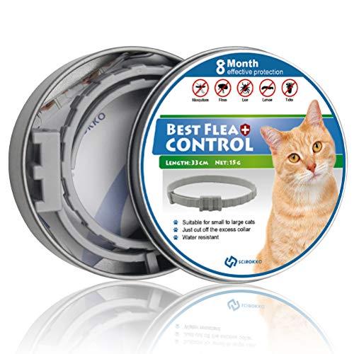SCIROKKO Floh- und Zeckenhalsband für Katzen, 8 Monate effektiver Schutz – verstellbares Flohhalsband für Katzen, Welpen