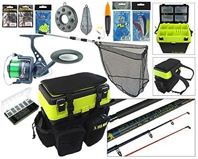 Hunter Pro Sea Fishing Kit. Complete Sea Fishing Rod & Reel Set Including SEA MAX© Seat Box & Rucksack
