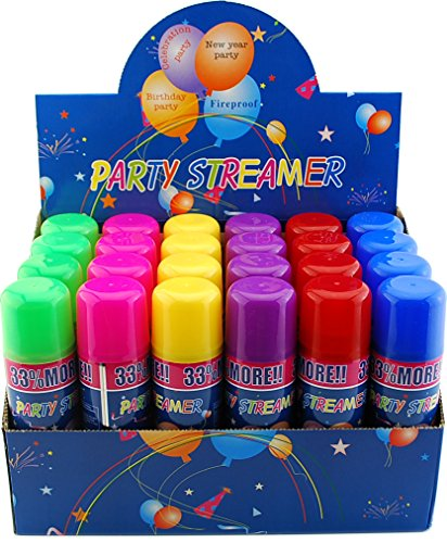 48 Pack Wholesale Lot: Silly Party Crazy String Streamer Spray Cans Wholesale Lot