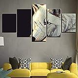 104Tdfc Resumen Mascarilla de Lobo Blanco Impresión Lienzo Pintura 5 Piezas Lienzo Pintura Pared para Hogar Salón Oficina Decoración Regalo