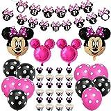 BESTZY Minnie Cumpleaños Decoracion Juego Globos, Fiesta de Tema de Juegos Incluye Globos de Látex Globos de Cumpleaños Artículos para la fiesta de Minnie para Baby Shower de Ccumpleaños(Rosa roja)