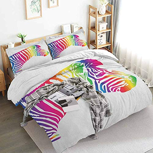 Safari Duvet Cover Set,Zebra Portrait In Multicolored Stripes Zoo Animal Savannah Mammal with Vibrant Skin,Decorative 3 Piece Bedding Set with 2 Pillow Shams,California King(104'x98') Multicolor