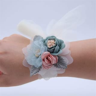 AXEDENRT White for Bride Bridesmaid Bridesmaid Wrist Flower Corsages Stretch Bracelet Wedding Bridal Women Suit Decor Wristband Corsage for Party Prom Hand Flower Decor Party Hand Flower Decor