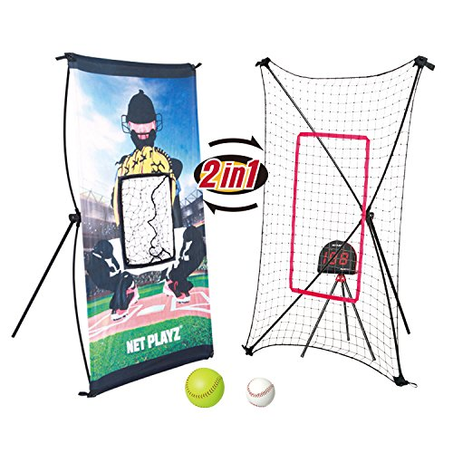 NET PLAYZ Smart Baseball Trainer Combo with 1 Set Sport Radar, Pitchback Rebounder Net and Pitching Target Panel with Carry Bag/1 Pc Baseball and Softball Included, Black, ODIS-27