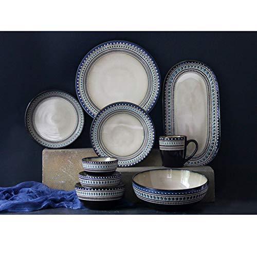 XCXDX 9 Stück Exotisches Retro-Geschirr, Handbemalter Keramikbecher, Rutschfester Tresor, Anzug Für Zuhause, Restaurant