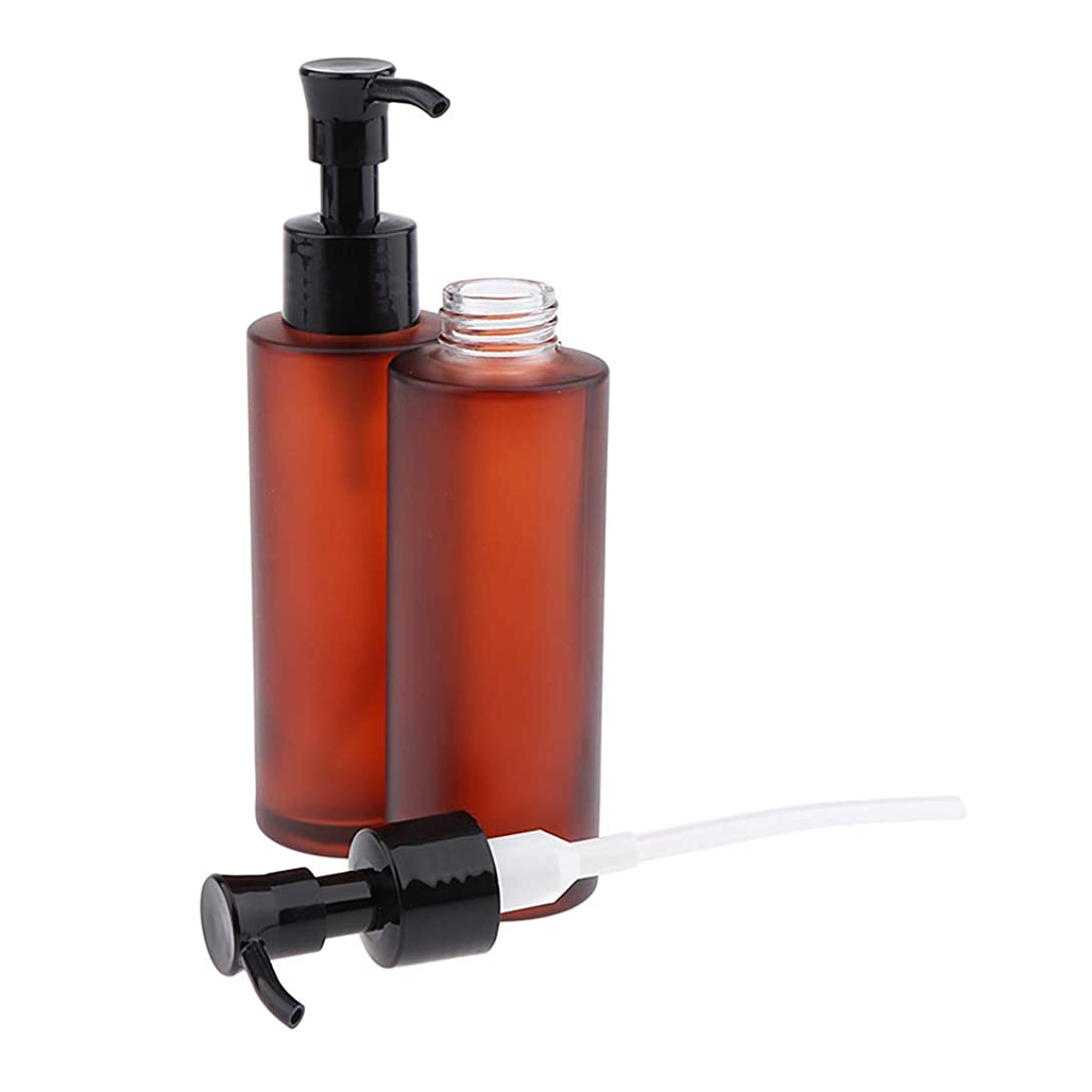 忌まわしいかんがいサロンToygogo 2x空の詰め替えガラスボトルローションポンプディスペンサーボトル旅行化粧品容器 - 100ml