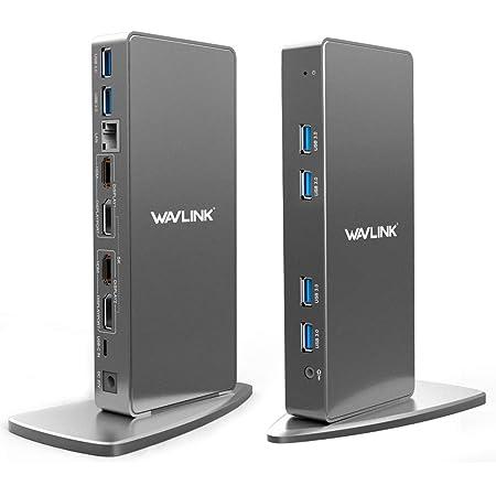 WAVLINK USB-C垂直アルミニウムUltra HD 5Kユニバーサルドック、HDマルチモニターユニバーサルドック、2つのHDMIおよびDisplayPortポート、ギガビットイーサネット、2つのtype-Cポート、4つのUSB 3.0、Microsoft WindowsおよびApple Macをサポート オンラインで動作する