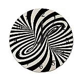 Reloj de Pared Vintage,Una óptica Espiral en Blanco y,Relojes de Pared de Madera silenciosos Que no Hacen tictac,Reloj de Pared rústico de Granja para la decoración del Dormitorio de la Sala de Estar