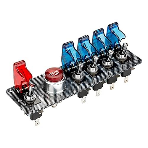 TYLZDZ Interruptor de Encendido Botón De Arranque del Motor Encendedor del Motor con Panel De Aleación Aluminio Azul Rojo 5 + 1 Interruptor De Palanca De Encendido De Carreras