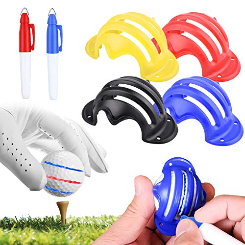 4 PCS Golf Ball Line Marker, Marcador de Pelotas de Golf, Juego de Pelota de Golf Clip Herramienta de Alineación, Bolas de Golf, Accesorios Golf, la línea Recta, Multicolor con 2 PCS Marcadores