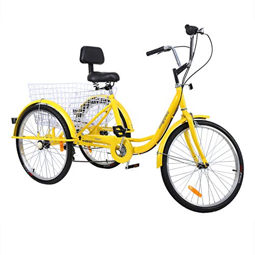 """industrial trikes Iglobalbuy 6 SpeedThree Wheel Adult Tricycle 3 Wheel Bikes for Adults Trike 24"""" W/Large Size Basket (Yellow)"""