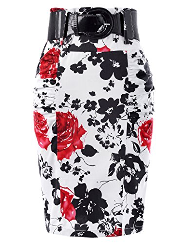 Floral Vintage Pencil Skirts Women Pleated Retro Skirts L, Floral-2