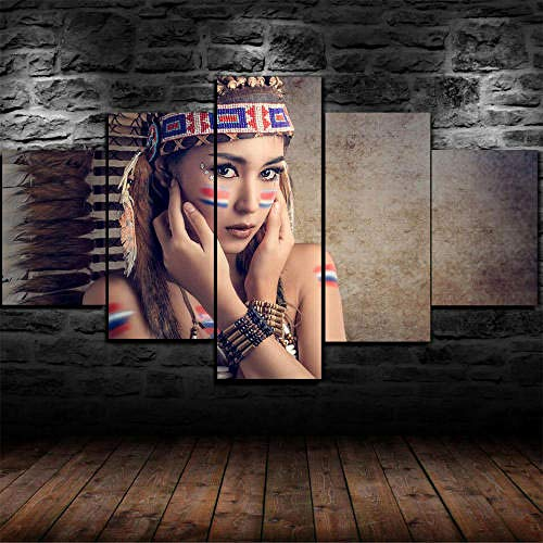 Cuadro Sobre Lienzo 5 Piezas Impresión En Lienzo Ancho: 150Cm, Altura: 100Cm Listo Para Colgar-Nativa Americana Niña India Mujer En Un Marco