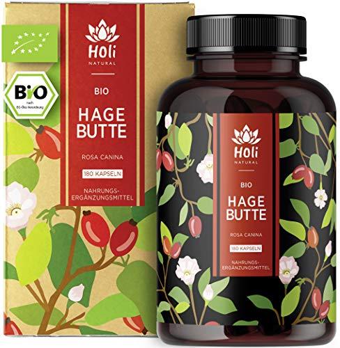 Holi Natural® BIO Hagebuttenkapseln | 180 vegane Kapseln | 600mg pro Kapsel | Reinste Hagebuttenpulver Kapseln hochdosiert | hoher Vitamin C Gehalt