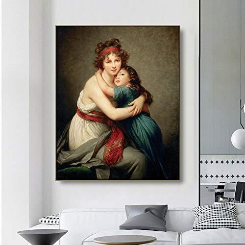 ganlanshu Rahmenloses Gemälde Selbstporträt von Sissi mit ihrer Tochter Leinwand Ölgemälde Poster MalerZGQ3113 40X50cm