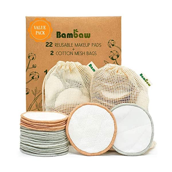 Reusable Cotton Pads | 22 pack | with 2 bags for laundry and storage - Bambaw