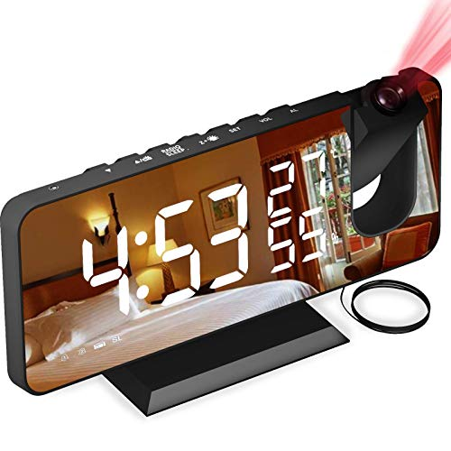 Aikove Projection Clock, Digital Clock with FM Radio, 7' LED Mirror Display, 4 Levels of Brightness, USB Charger, Alarm Clock Kids with Ultra-Clear Projection for Home, Office, Bedroom
