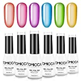 TOMICCA Gel Nail Polish Starter Kit 10ML 6 Color Jelly Candy Crystal Gel Polish Set Rainbow Neon Summer Soak Off UV/LED Gel Polish Set