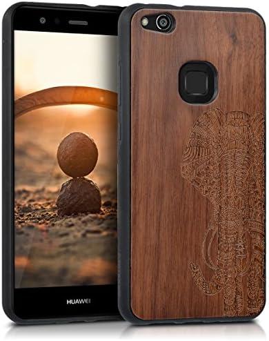 kwmobile Coque en Bois Compatible avec Huawei P10 Lite - Étui de Protection Rigide avec Cadre en TPU - Brun foncé