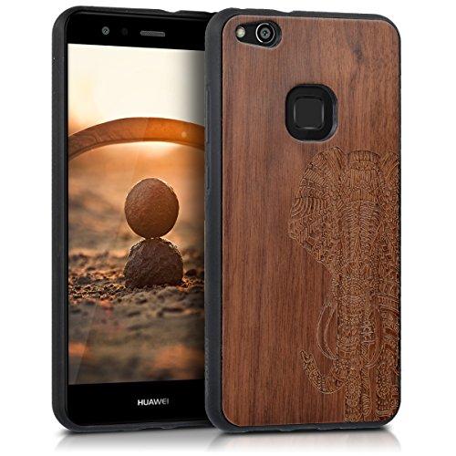 kwmobile Bumper Schutzhülle kompatibel mit Huawei P10 Lite - Holz Hülle Handy Case Cover Walnussholz Elefantenmuster Dunkelbraun