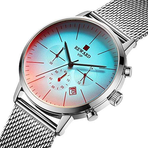 Relojes De Pulsera,Reloj De Los Hombres De Moda Que Cambia De Color Deportivo Impermeable Banda De Acero Reloj